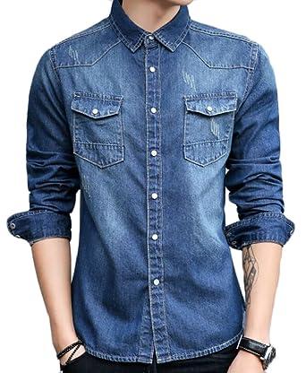 5831109586ff ainr Mens Denim Slim Fit Long Sleeve Button Shirt Casual Work Dress Shirt  Dart Blue XS