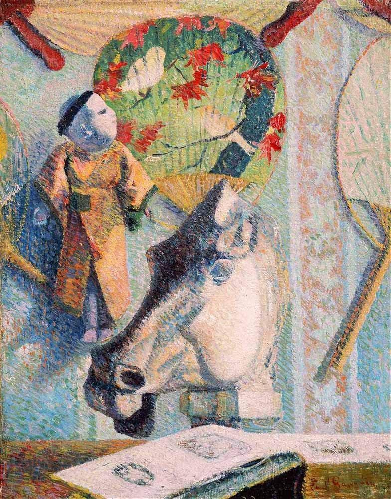 JH Lacrocon Paul Gauguin - Todavía Vida Cabeza Caballos Reproducción Cuadro sobre Lienzo Enrollado 45X60 cm - Pinturas Naturaleza Muerta Impresións Decoración Muro