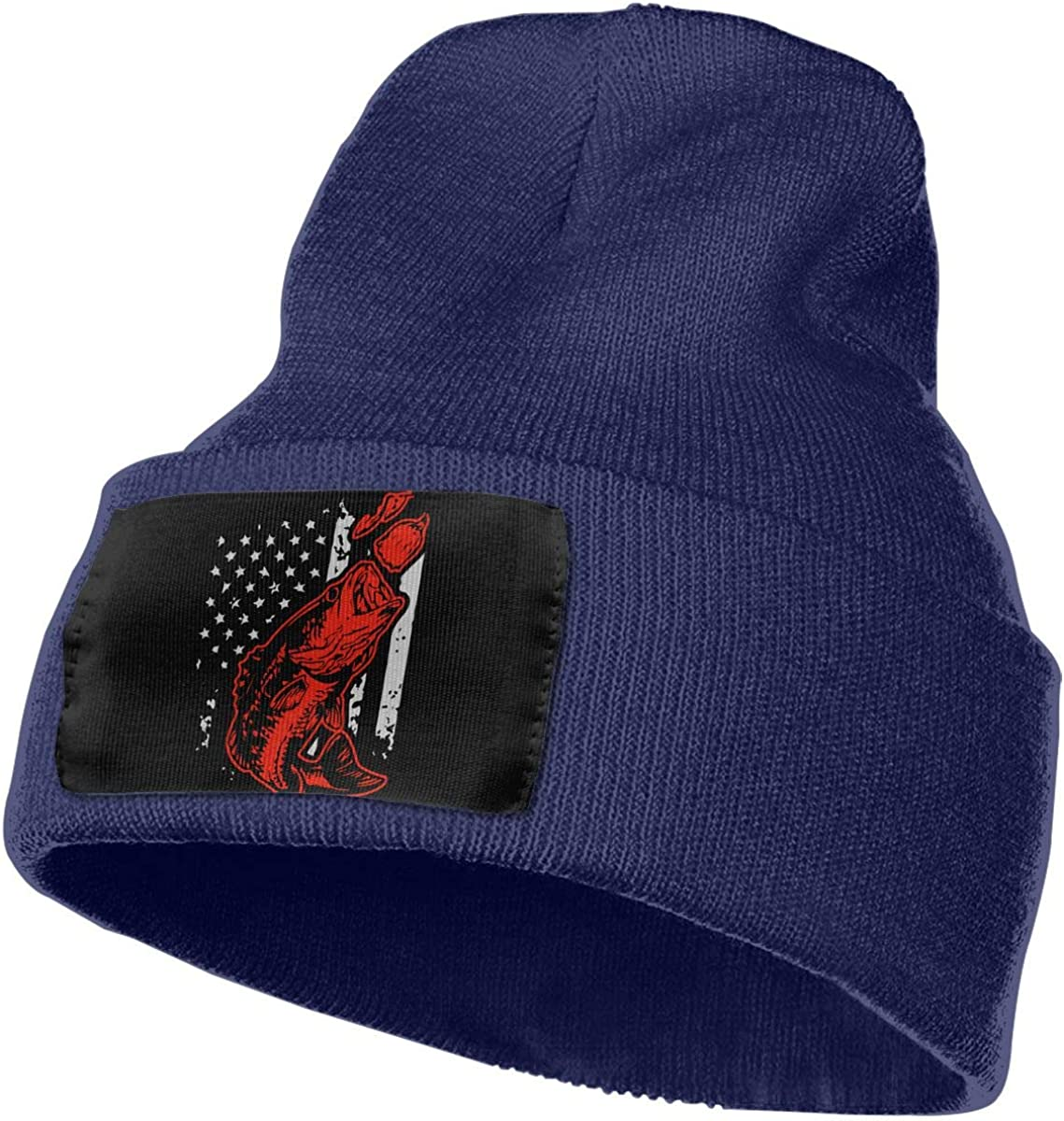 Bass Fishing Lure and American Flag Men Women Knit Hats Stretchy /& Soft Ski Cap Beanie