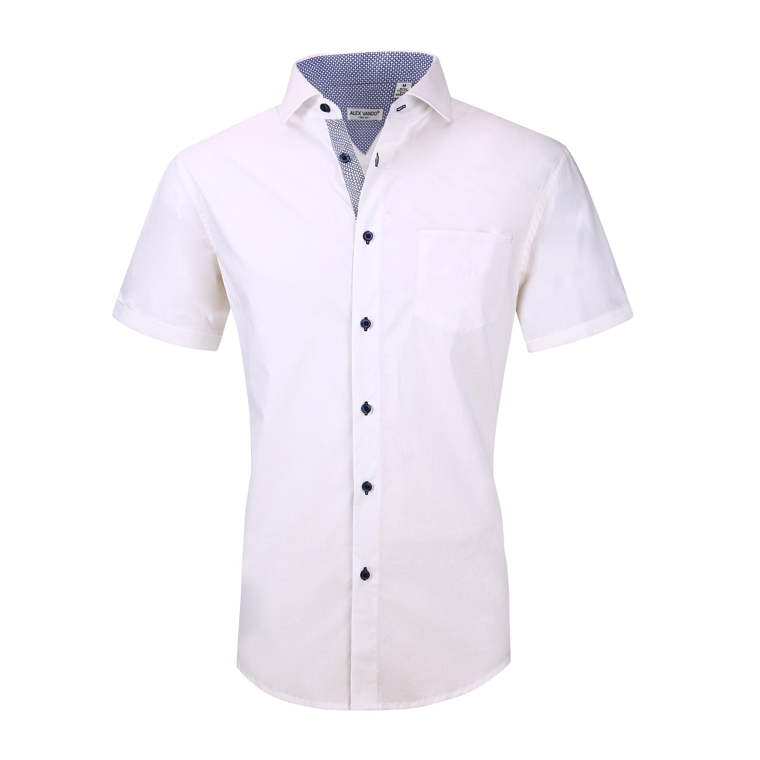 Alex Vando Mens Dress Shirts Cotton Poplin Spandex Short Sleeve Regular Fit Casual Spread Collar Shirt(White,Large)