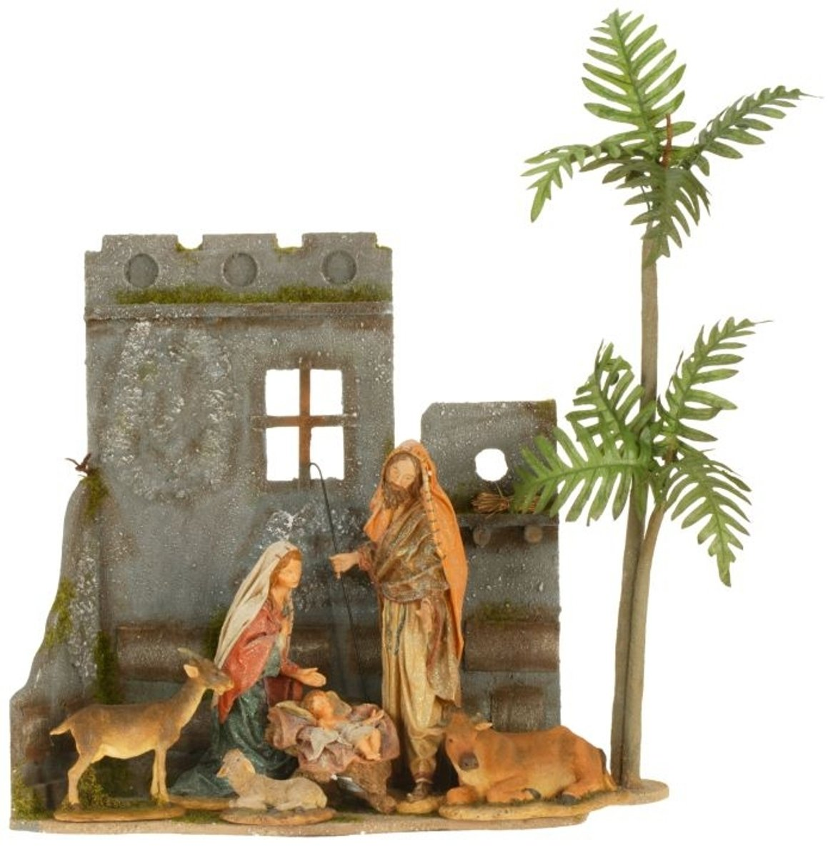 Holy Family and Animals 6 Piece Resin Nativity Scene with 19.25 Inch Creche and Palm Tree Mark Roberts
