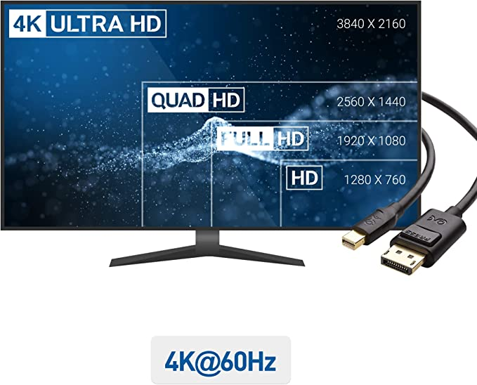 Cable Matters Cable Adaptador Mini Display Port a Display Port (Cable Adaptador Mini DP a DP) en Negro 1.8m: Amazon.es: Electrónica