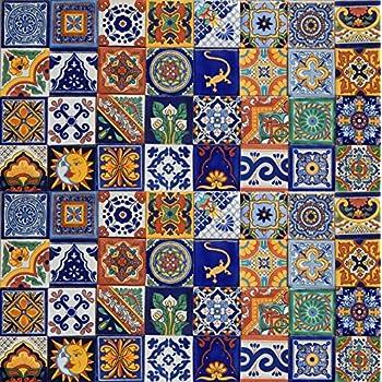 Amazoncom Handpainted Talavera Mexican Tile 6x6 Zinnia