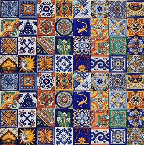 100 Mexican Ceramic Tiles Handmade Talavera - Cotta Terra Mexican