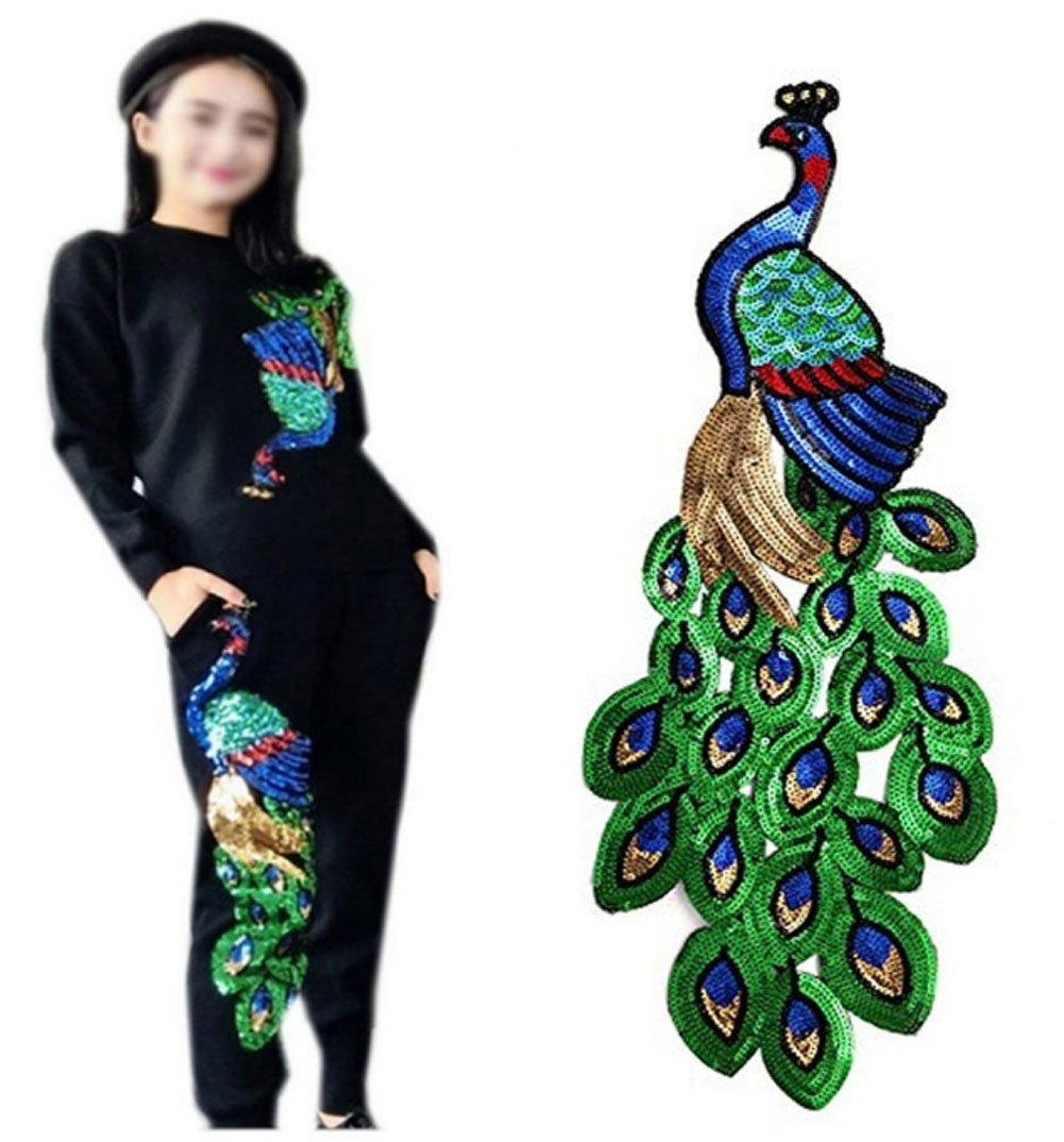 Large Ancefine Sequins Peacock Patch Iron on Embroidered Applique for Clothes,2Pcs