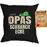 Cooles Opa Geschenk Kissen in schwarz inkl. Füllung und lustiger Urkunde: zzz? Opas Schnarch Ecke