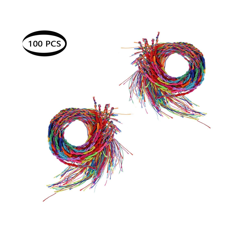Shuny 100 Pièces Bracelet Tressé,Fait Main Coloré Amicale Bracelet Fil Bracelets à la Cheville au Poignet,Bracelets Brésiliens Bracelets de Cheville ( Couleur Aléatoire)