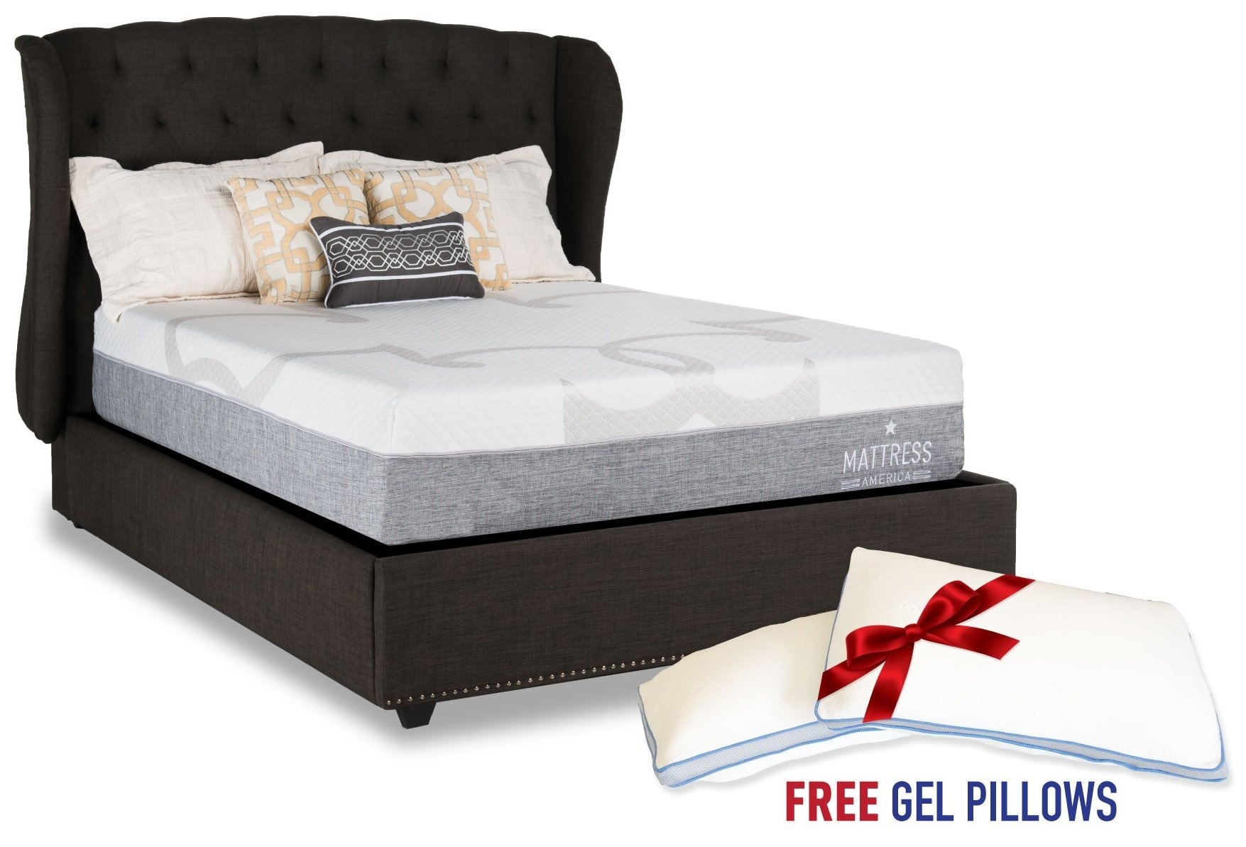 Mattress America Caress 10 Inch Gel Memory Foam Mattress With 1 Free Memory Foam Pillow (Full)