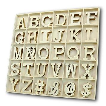 Amazon.com: Juego de letras y números de madera de alfabeto ...