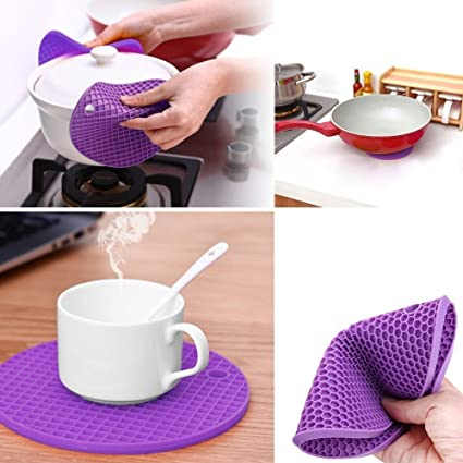 Zollyss 3 Pc Skidproof Heat Resistant Mat Silicone Non-slip Coaster Round Cup Cushion Placemat Holder Kitchen Accessories