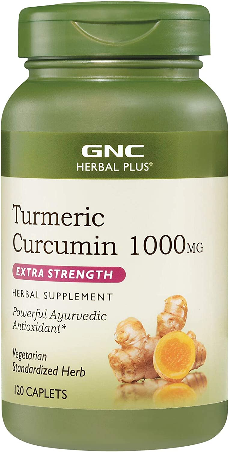 GNC Herbal Plus Turmeric Curcumin 1000mg Extra Strength, 120 Caplets, Provides Antioxidant Support