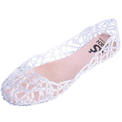 03cf2ed6a2a4 Image Unavailable. Image not available for. Color  Hee grand Womens Summer  Jelly Shoes Ballet Flats Slip On Hollow Out Loafers Bird Nest Mesh
