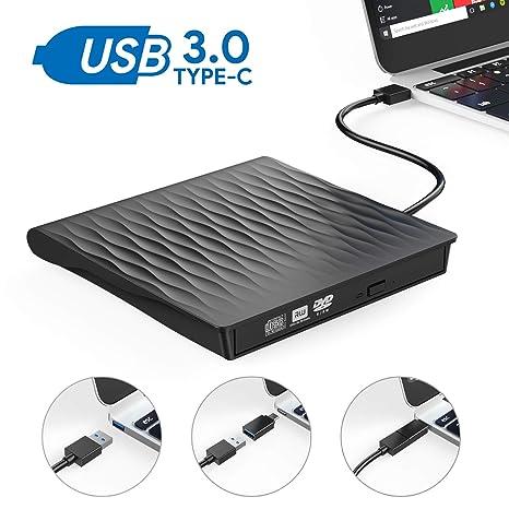 Grabadora DVD Externa, AUCEE USB 3.0 Tipo-C Puerto Dual Unidad CD/DVD Externa Portátil con Diseño Antichoque Capacidad de Corrección de Errores Compatible ...