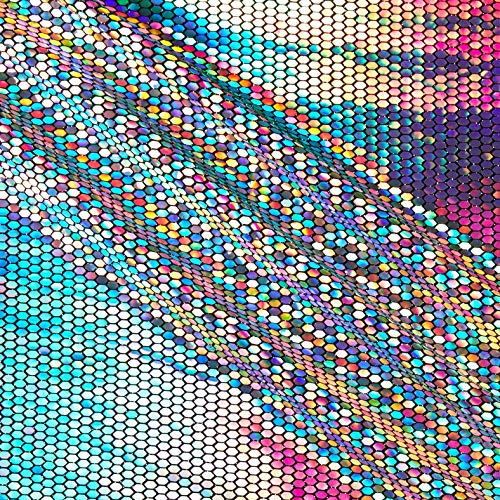 Telio Hexagon Faux Sequin Knit Metallic Hologram Black Fabric by the Yard