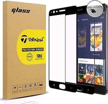 Topnow [2 Pack] Protector de Pantalla + Película de Lente for OnePlus 3 / OnePlus 3T, 2.5d Cobertura Completa 9H Dureza Vidrio Cristal Templado para One Plus 3 / One Plus 3T: Amazon.es: Electrónica
