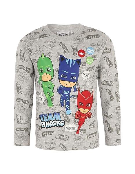 04ccdbddb423d Les Pyjamasques T-Shirt Manches Longues Enfant garçon Gris Clair de 3 à  8ans  Amazon.fr  Vêtements et accessoires
