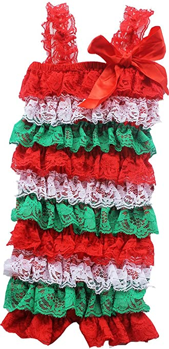 7ffb1a3509734 Amazon.com: Chic Pipsqueak Red White and Green Holiday Lace Petti ...