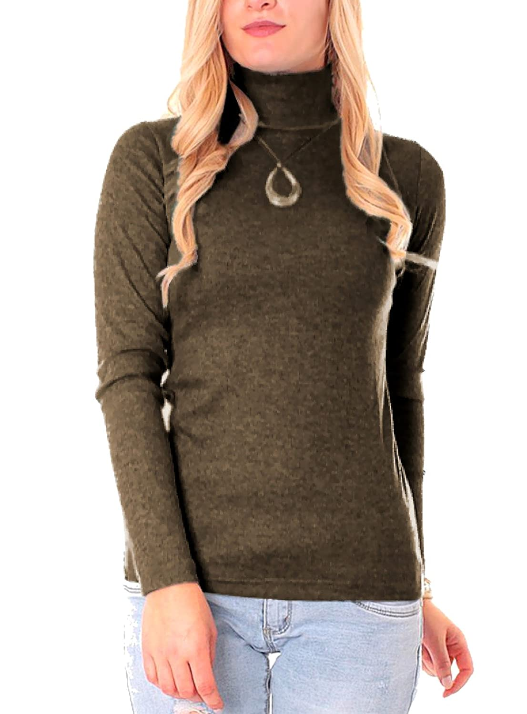 Damen Feinripp Rollkragen Pullover Pulli uni einfarbig langarm Basic Rolli Shirt Uni Gr XS S M L 34 36 38 40