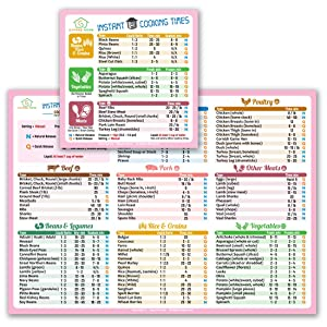 """Best Improved Version Instant Cooking Times Cheat Sheet Magnets 11""""x8"""" (Pink) for Instant Pot Pressure Cooker Accessories Large Fonts Magnetic Cook Times Chart Guide Holiday New Year Gift Superb Home"""