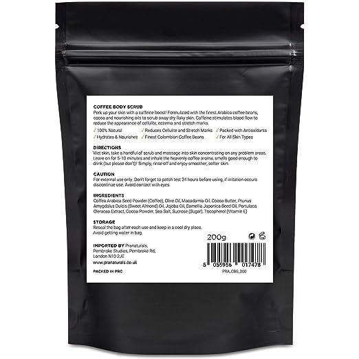 PraNaturals Exfoliante de Café Colombiano Puro con los Mejores Granos de Café Colombiano Mezclado con Aceites Esenciales Naturales para Reducir la Celulitis ...