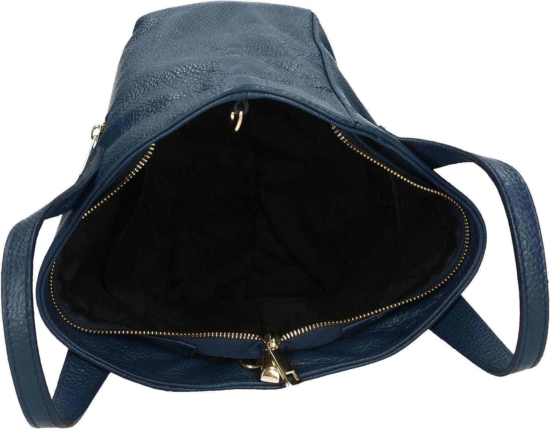 Roberta Rossi Costanza sac à la main avec double poignée classique casual Tote femme cuir véritable 25x20x10 700 gr Made Italy RR34ST010CGLGLD_P Blue