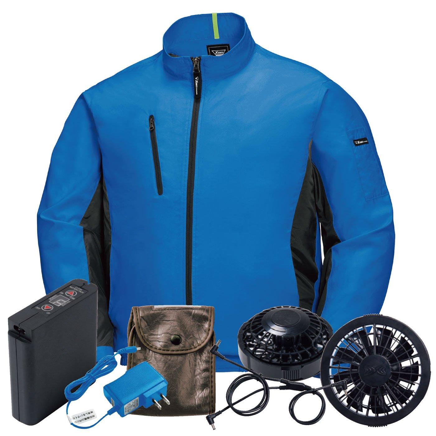 XEBEC(ジーベック) 空調服 ファン付き 長袖ブルゾン 空調服セット カジュアル メンズ 作業服 xb-xe98003-l 【空調服+ファンバッテリーセット】 B07CXG4WLC 3L|ロイヤルブルー/黒ファン ロイヤルブルー/黒ファン 3L