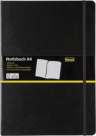 Hardcover schwarz 80 g liniert DIN A7 192 Seiten Idena Notizbuch