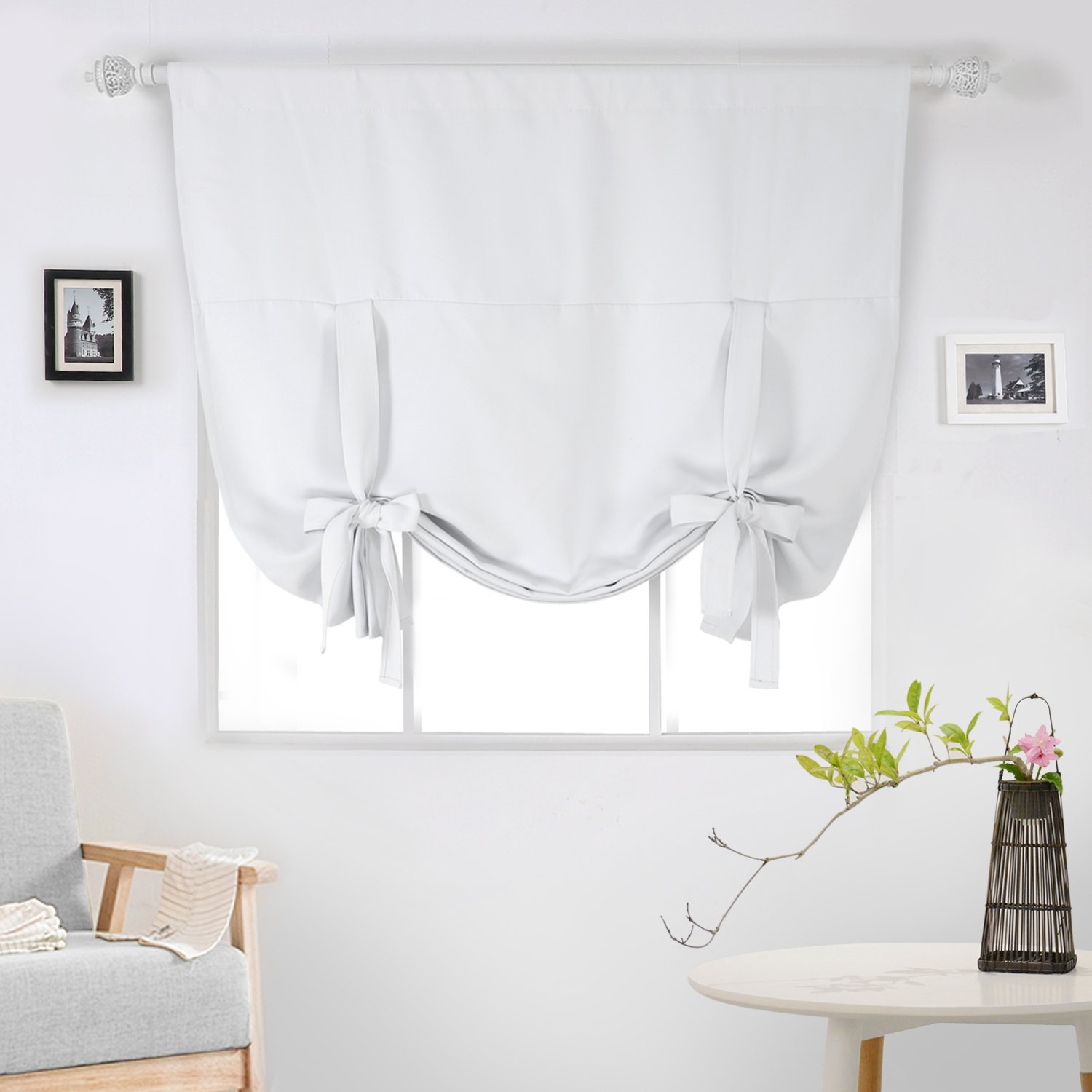 Balloon curtains kitchen - Deconovo Blackout Curtain Tie Up Shade Window Panels For Living Room And Bedroom Greyish White 46w X 63 One Panel