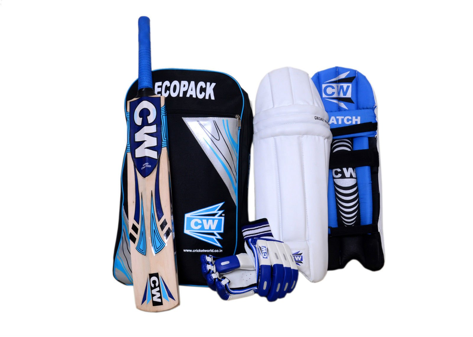 CW Sports Teenagers Cricket Kit Blue Size No.6 Ideal for 11 -12 Year Child Cricket Players ,Best Quality Top Grade Cricket Kit Set with Kashmir willow Bat ,Thigh Guard Pair,Batting Gloves ,Kit Bag
