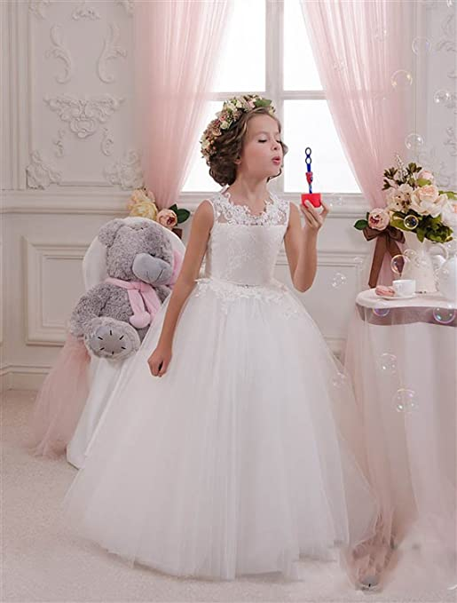 Amazon.com: Yocousm Tulle Flower Girl Dress Lace Kid Pageant Dress First Communion Dress For Wedding Prom Party Birthday White Ivory: Clothing