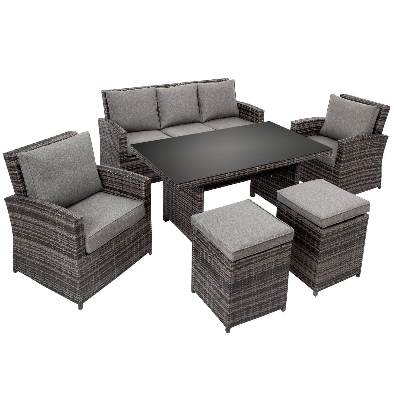 TecTake Conjunto muebles de jardín terraza poli ratán ...
