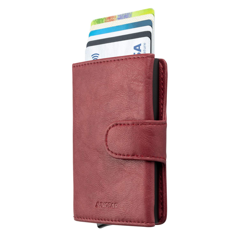 LUNGEAR Porta carte di credito Portafoglio in pelle RFID Blocking Porta carte automatico pop up slim per uomo e donna blu arioso