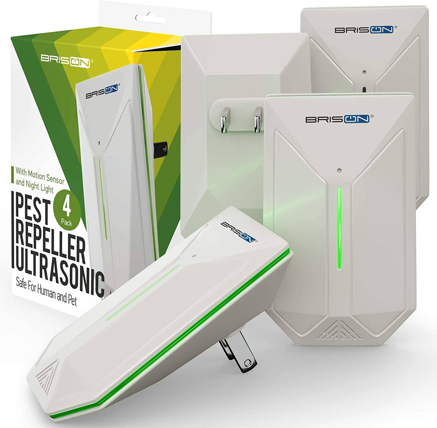 BRISON Ultrasonic Pest Repeller - Easy & Humane Way to Reject Rodents Ants Cockroaches Beds Bugs Mosquitos Fly Spiders Rats
