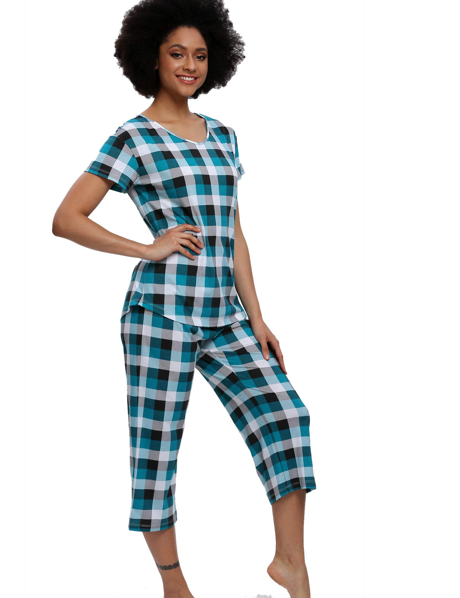 ENJOYNIGHT Pajamas Set Women\'s Cute Tops with Capri Pants Sleepwear Sets Plus Pj Lounge Nightgowns (Lattice G, XXX-Large)