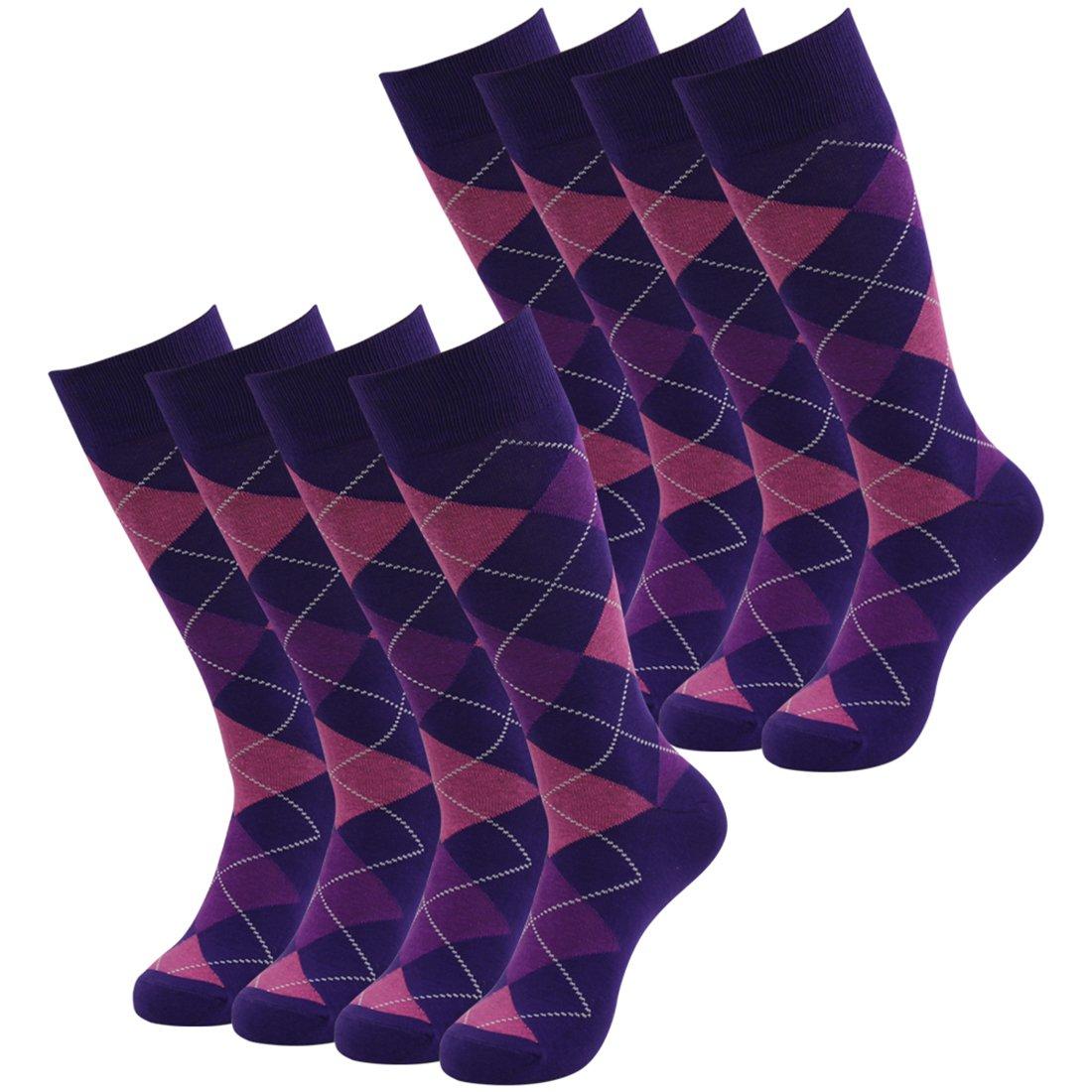 Argyle Dress Socks, SUTTOS Men's Women Custom Elite Casual Fun Purple Argyle Dress Socks Mid Calf Casual Novelty Socks Wedding Groomsmen Socks Jacquard Plaid Cotton Knit Back to School Socks,8 Pairs