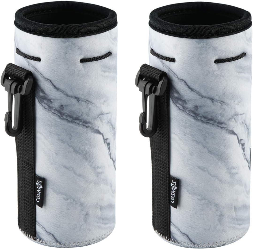 CM Pack of 2 Water Bottle Neoprene Sleeve Portable Insulator Bottle Cover Drawstring Insulator 18 Oz 20 Oz Bottle Holder
