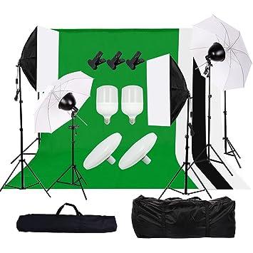 Kit de Estudio Fotográfico Continuo Kit de Iluminación Profesional, Softbox *2 Sombrilla Suave *