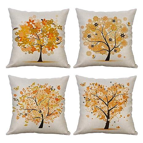 MIULEE Juego de 4 Lino Cojines Árbol Naranja Funda de Cojín Almohada Caso de Decorativo Cojines para Sala de Estar sofá Cama Coche 18