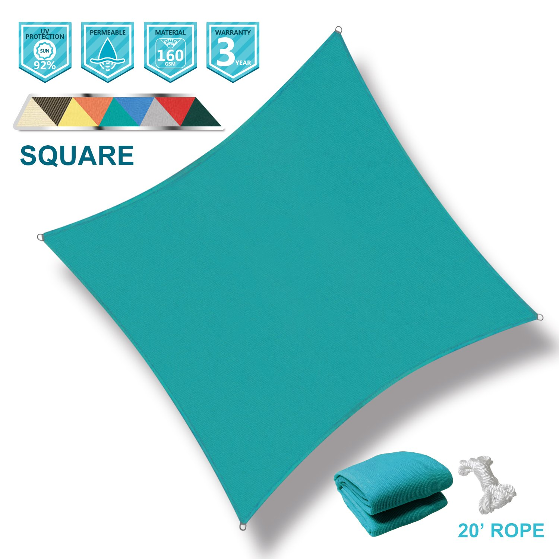 Coarbor 8'x8' Square Light Green UV Block Sun Shade Sail Canopy Perfect for Patio Outdoor Garden
