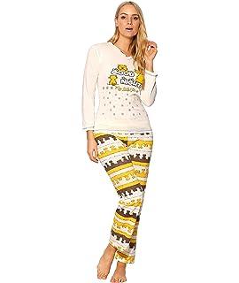 KRISP Damen Schlafanz/üge Pyjama mit Verschiedenen Motiven aus Baumwolle