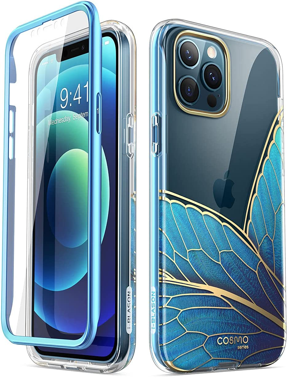i-Blason Cosmo Series Case for iPhone 12 Pro Max 6.7 inch (2020 Release), Slim Full-Body Stylish Protective Case with Built-in Screen Protector (Butterfly)