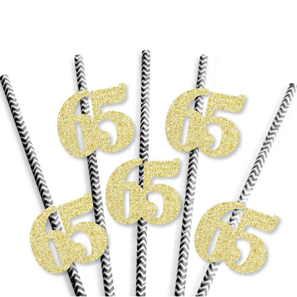 Gold Glitter 65 Party Straws No-Mess Real Gold Glitter Cut-Out Numbers /& Decorative 65th Birthday Party Paper Straws Set of 24