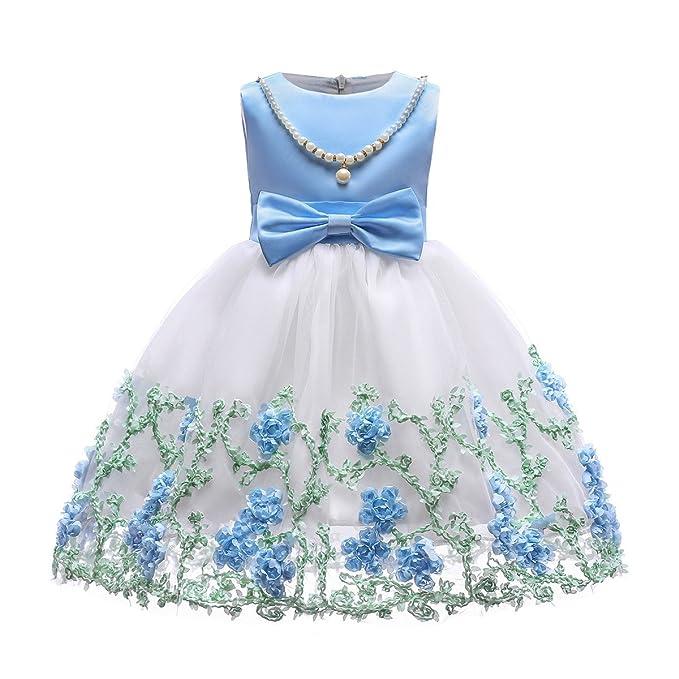 Abito Bambina Tulle Vestito Cerimonia Desigual Dress Elegante da Damigella  Comunione Ballo Festa Vestiti Compleanno Carino 784165d5712