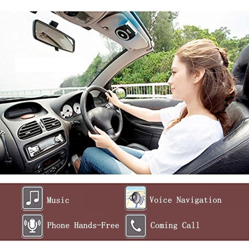 Bluetooth Speakers AUTO Power ON Handsfree Visor Car Kit with Wireless Calling Music Receiver GPS Navigation for All Smart Phone, Samsung Crystal Clear Sound Support Siri by Aivake Black