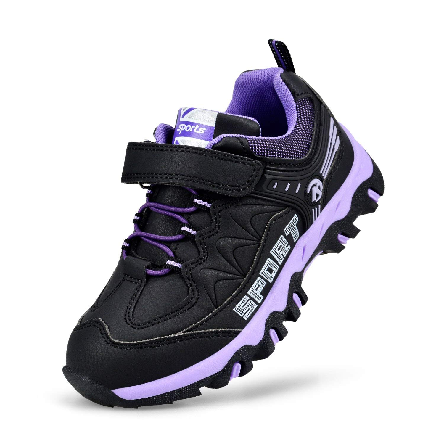 MARSVOVO Boy's Sneakers Breathable Outdoor Tennis Hiking Running Shoes Black/Purple 8.5 Toddler