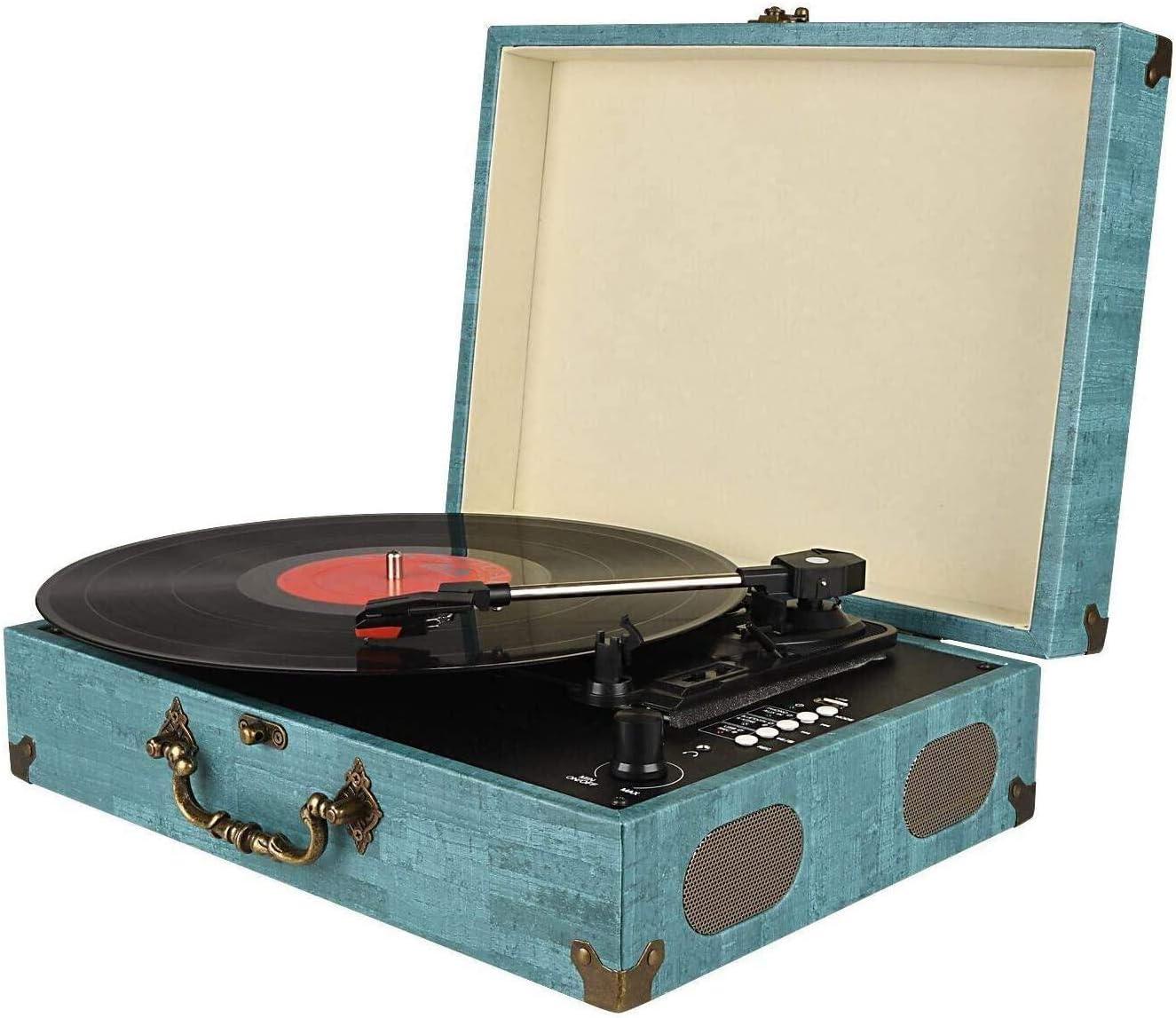 Cinchausg/ängen Aux-Eingang Vinyl zu MP3 Aufnahmefunktion wiederaufladbarem Akku Kopfh/örerausgang JORLAI 3-Geschwindigkeiten Plattenspieler mit Bluetooth Schnittstelle eingebauten Lautsprechern