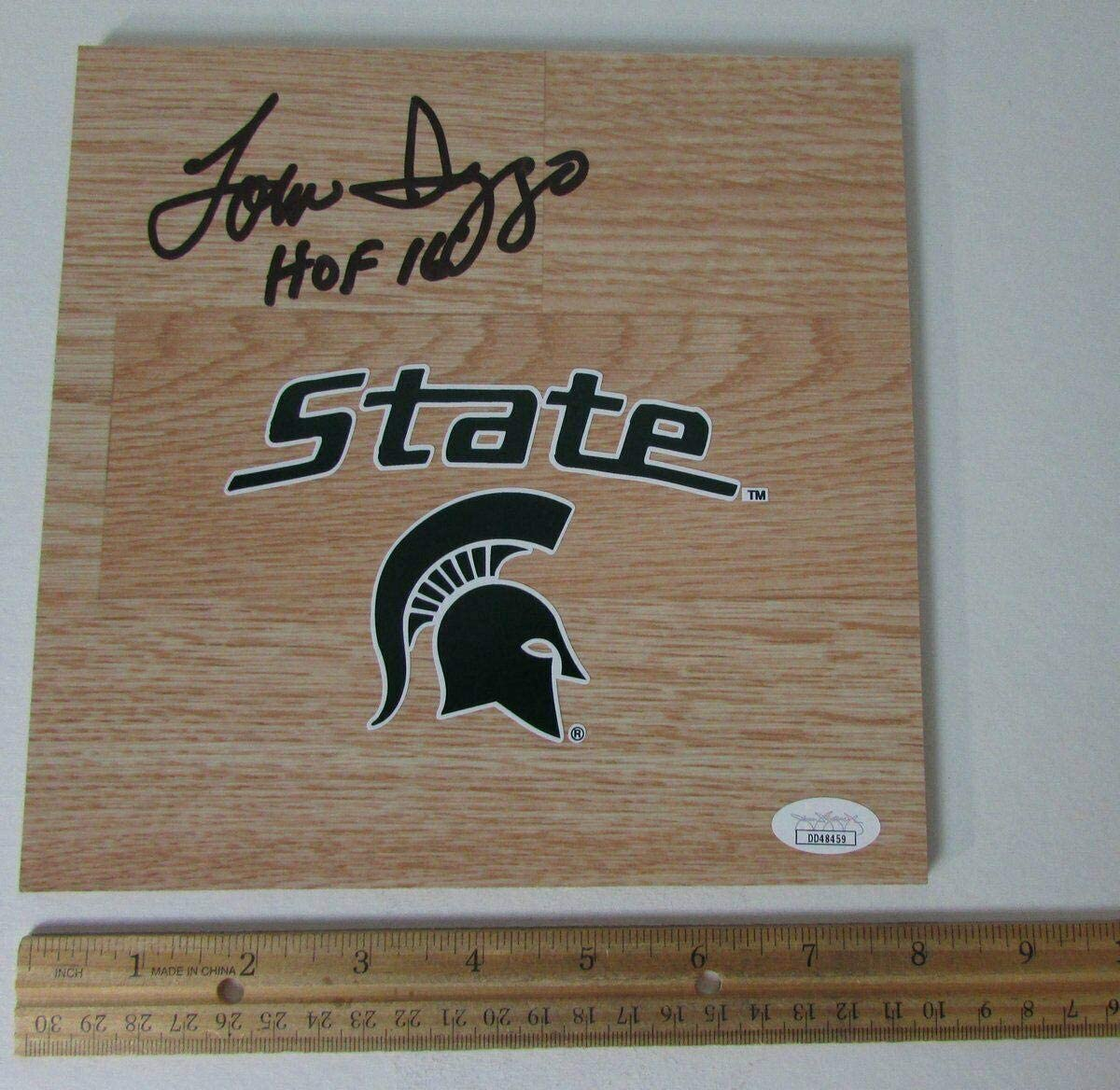 JSA Certified Autographed College Floorboards Tom Izzo Michigan State Signed InscribedHOF 16 8X8 Floorboard 146074