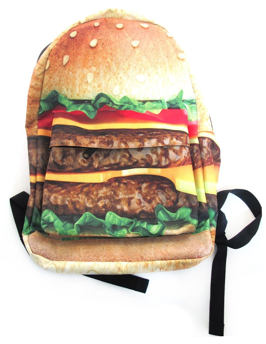 Amazon Hamburger Burger Backpack Book Bag School Cheeseburger Food Print Computers Accessories