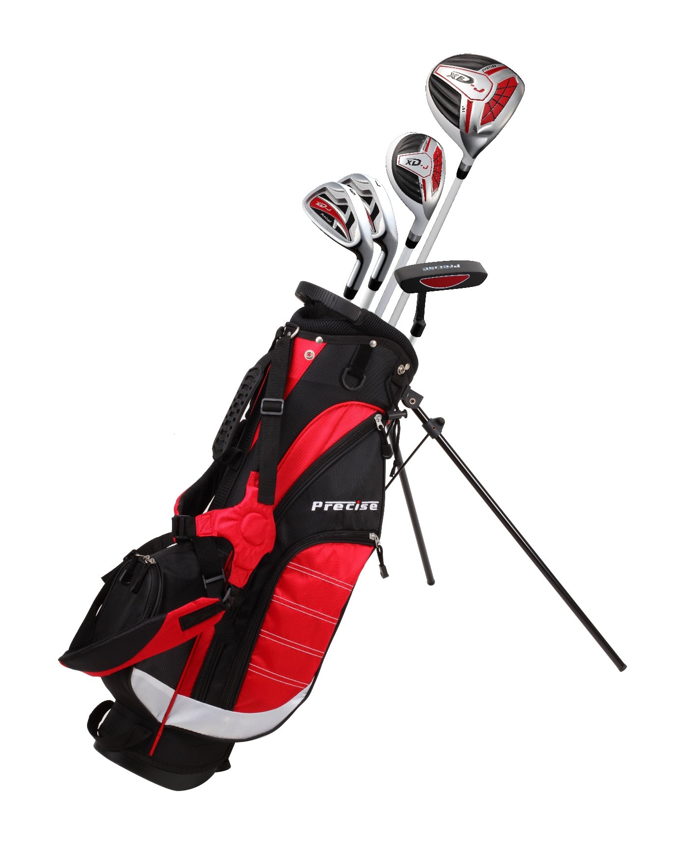 Precise XD-J Junior Complete Golf Club Set for Children Kids - 3 Age Groups Boys & Girls - Right Hand & Left Hand! (Red Ages 6-8, Left Hand)
