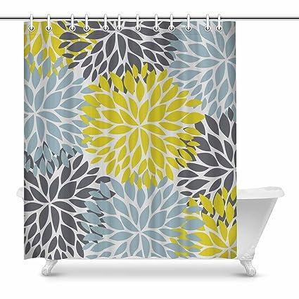 InterestPrint Dahlia Pinnata Flower Yellow Gray And Light Blue Home Decor Floral Waterproof Polyester Fabric